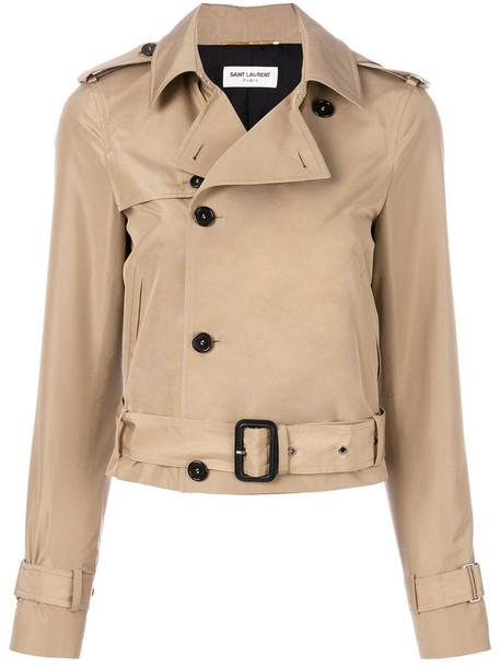 Saint Laurent jacket cropped women nude cotton silk