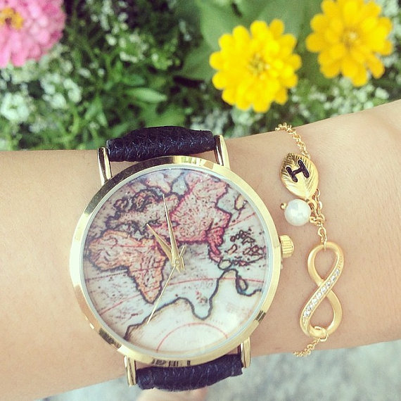 World map unisex round leather watch faux by treasureswatch