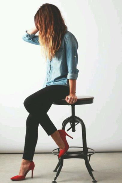 shoes red pointed toe heels black skinny leggings chambray denim shirt tie dye
