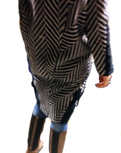coat,black and white pattern,oversized coat,stripes,leather,wool