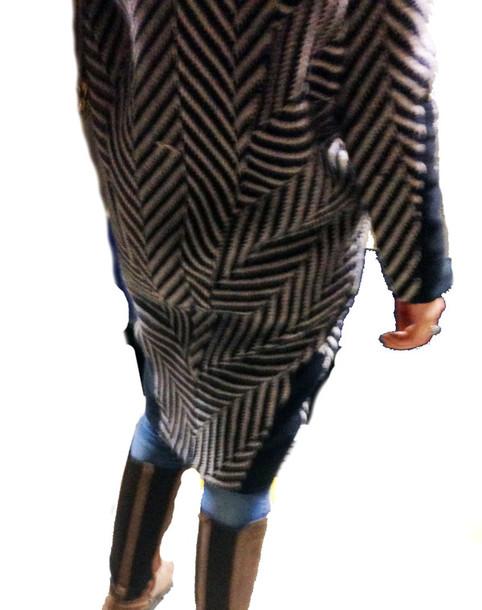 coat black and white pattern oversized coat stripes leather wool