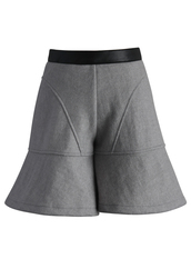shorts,amiable flare wool-blend shorts in grey,chicwish,grey