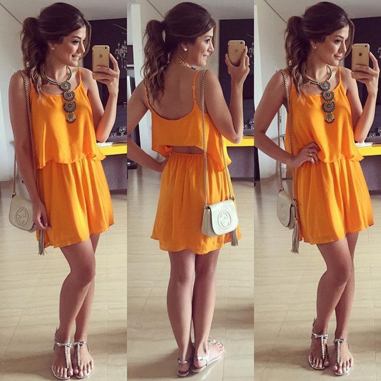Cute two piece orange dress sexy