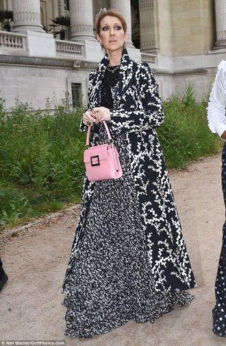 coat printed coat black and white coat long coat skirt maxi skirt black and white maxi skirt top black top bag handbag pink bag celebrity celebrity style singer