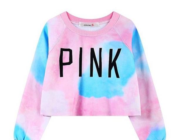 sweater pink sweater nebula tumblr sweater tie dye crop pink blue white tie dye lazy day tumblr