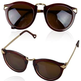 accessories floral sunglasses default title caramel owl eyed