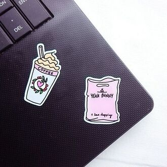 home accessory yeah bunny pink pastel stickers pink stickers this macbook stickers ❤️