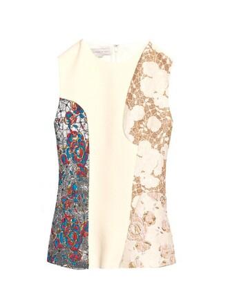 top sleeveless top patchwork sleeveless white