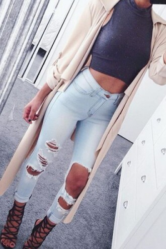 crop tops grey ripped jeans cardigan light blue coat high waisted high waisted jeans urban nude coat jeans jacket aesthetic shirt nude oversized cardigan grey top heels shoes skinny jeans