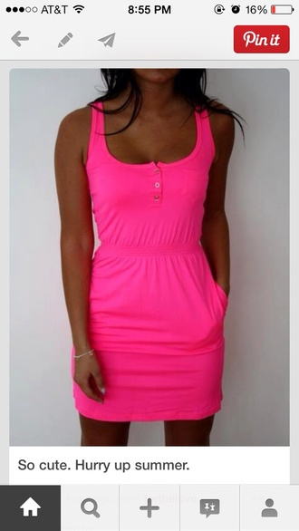 dress bright pink tshirt dress