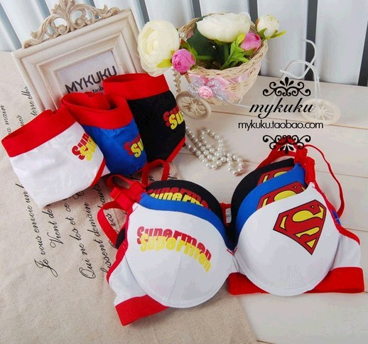 Superman super man 100% cotton push up bra underwear set s comfortable bra new 2014 free shipping