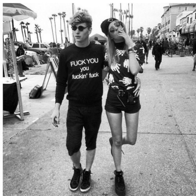 sweater cute black and white top tank top couple high waisted shorts beanie round sunglasses smoke cigarette fuck you you fuckin' fuck long sleeved shirt menswear boyfriend hipster black shirt biy bot bou boy girl glases tank tanktop hands leather middle finger shorts t-shirt finger band t-shirt black shirt leather shorts black shorts tumblr tumblr shirt fuck off boys shirt girls shirt grunge boho romper blouse indie alternative tumblr girl tumblr boy hipster the middle