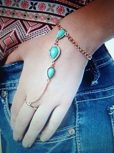 turquoise jewels linked ring bracelets