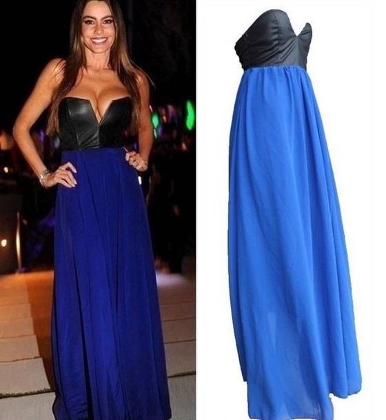 dress long dress blue electric blue leather pu ebonylace-streetfashion ebonylace.storenvy