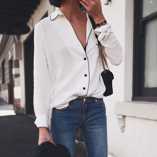 Shirt Tumblr White Shirt Denim Jeans Blue Jeans Pajama Style