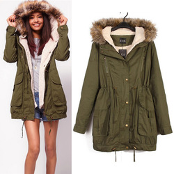 Online shop women winter warm damen army mantel jacke kapuze fleece jacke blogger parka hipster trend hot