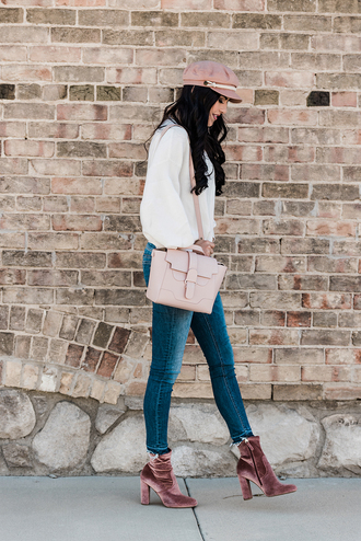 shoes tumblr boots pink boots ankle boots hat fisherman cap denim jeans blue jeans skinny jeans bag pink bag sweater knit knitwear knitted sweater velvet boots velvet