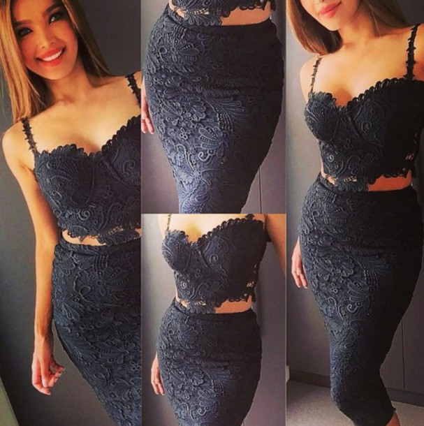 dress black dress black two piece dress set two-piece lace dress lace