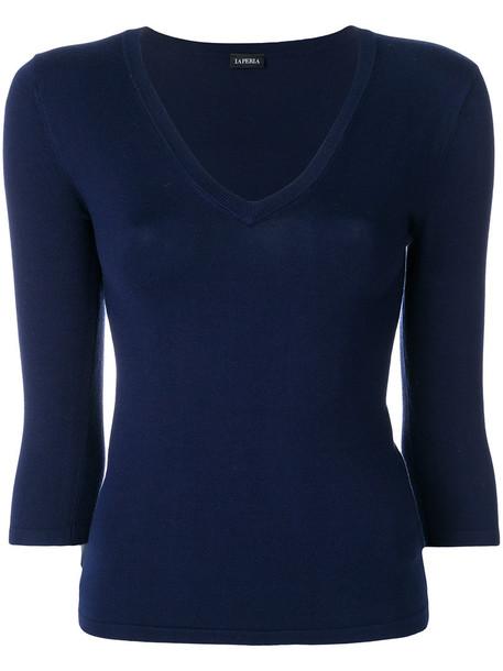 LA PERLA top women spandex blue silk