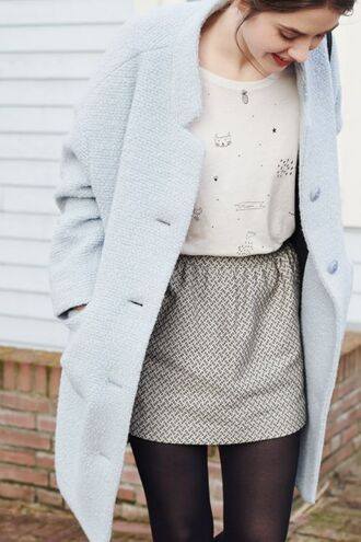 shirt classy skirt blue coat beautiful workwear mesh top office outfits streetstyle cats cat tshirts