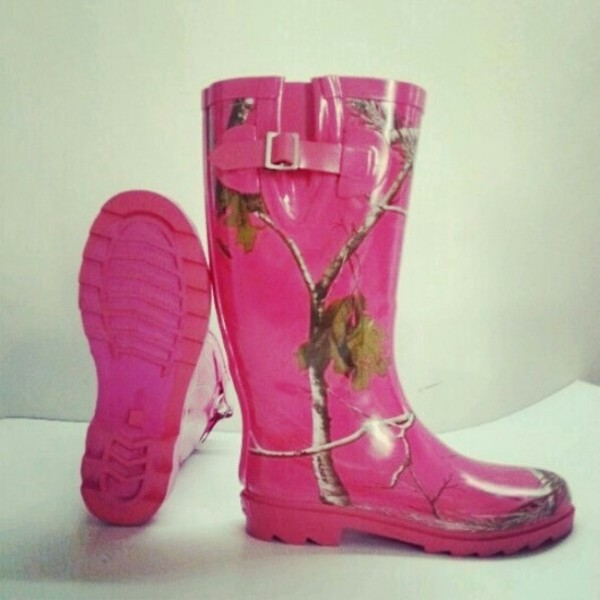 Shoes Wellies Rubber Boots Camouflage Hot Pink