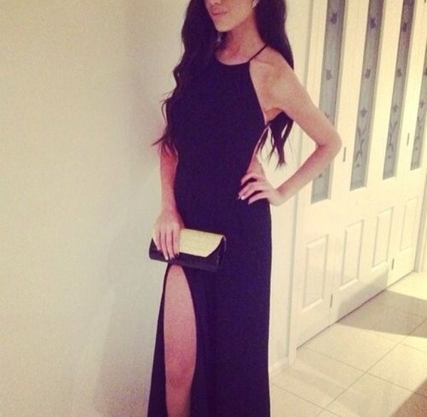 dress black formal prom maxi beautiful
