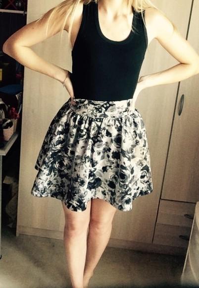 floral skirt flowers black skirt black and white black & white white flower print flower skater skirt floral floral dress