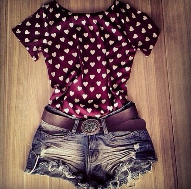 blouse red heart top