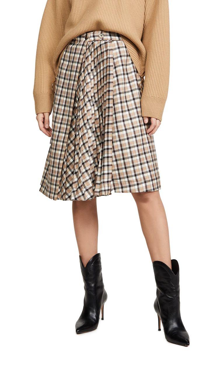 Paco Rabanne Plaid Asymmetric Pleated Skirt