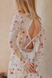 dress,tumblr,see through,see through dress,long sleeves,long sleeve dress,floral,floral dress,open back,open back dresses,backless,backless dress