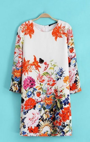 O-neck Three Quarter Sleeves Shift Floral Dress