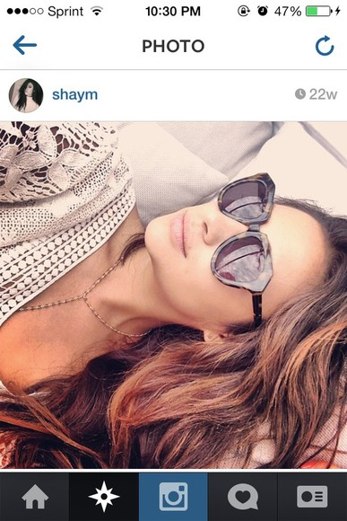 sunglasses round sunglasses black sunglasses brown sunglasses pretty little liars shay mitchell fashionista