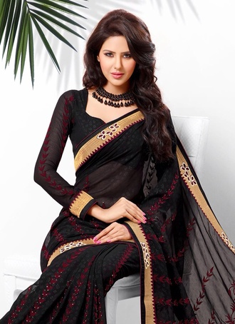dress black burgundy gold sari saree maxi dress silk saree long sleeve dress