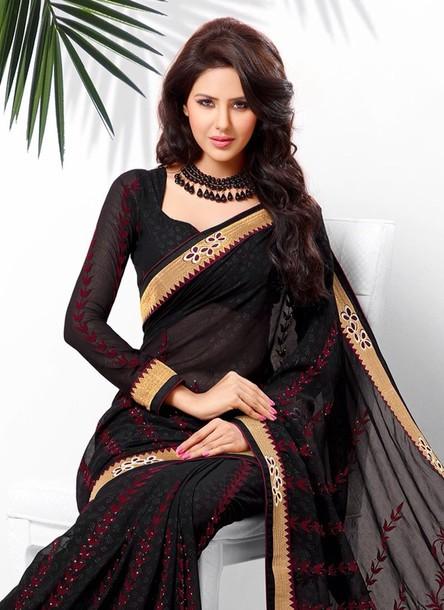 0e894c2dde70de dress black burgundy gold sari saree maxi dress silk saree long sleeve dress