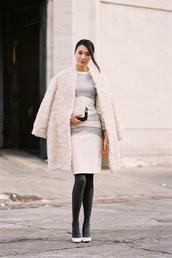 vanessa jackman,blogger,fur,off-white,white fur coat,fur coat,dress,white dress,winter dress,midi dress,long sleeves,long sleeve dress,streetstyle,winter outfits,winter coat,clutch,white oversized coat