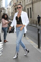 shoes,silver ankle boots,tumblr,boots,ankle boots,mid heel boots,jeans,denim,blue jeans,cuffed jeans,pointed boots,silver shoes,top,black top,crop tops,shirt,white shirt,miranda kerr,celebrity style,celebrity,model,model off-duty,sunglasses,streetstyle,pointed toe boots