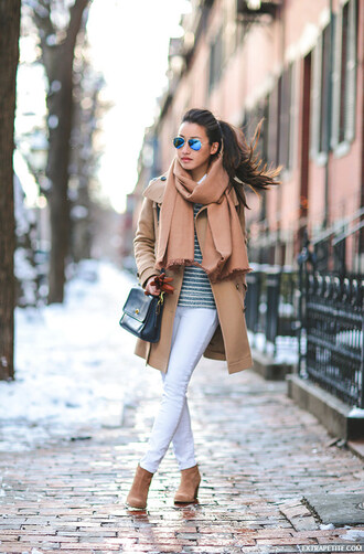 extra petite blogger camel coat white jeans
