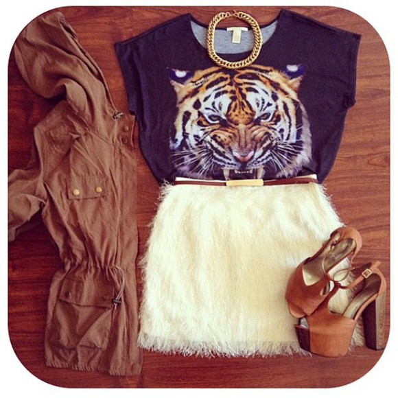 white t-shirt skirt shirt tiger print tiger shirt style gold black tiger roar high heels coat tiger face love want want want