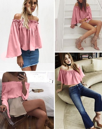 top pink off the shoulder light pink fashion style long sleeves musheng