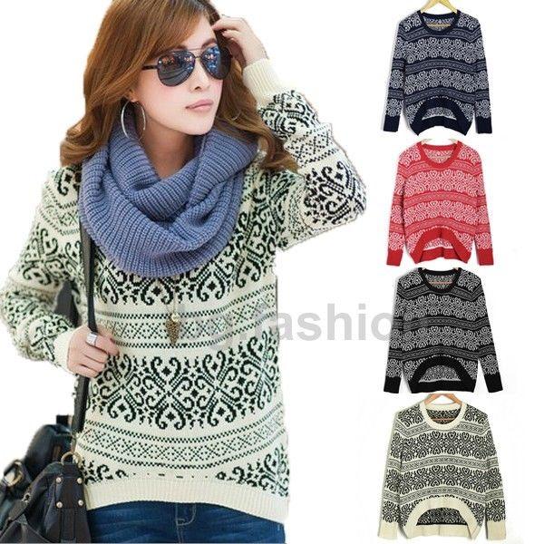 Damen Langarm Strick Pullover Pulli Sweater Longshirt Bluse Winter Warm Jacke D3