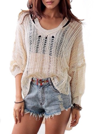sweater knitted cardigan knitwear mesh mesh top fall outfits fall sweater denim shorts see through loose autumn/winter cream stylish trendy back to school zaful comfy oversized sweater college casual see through top