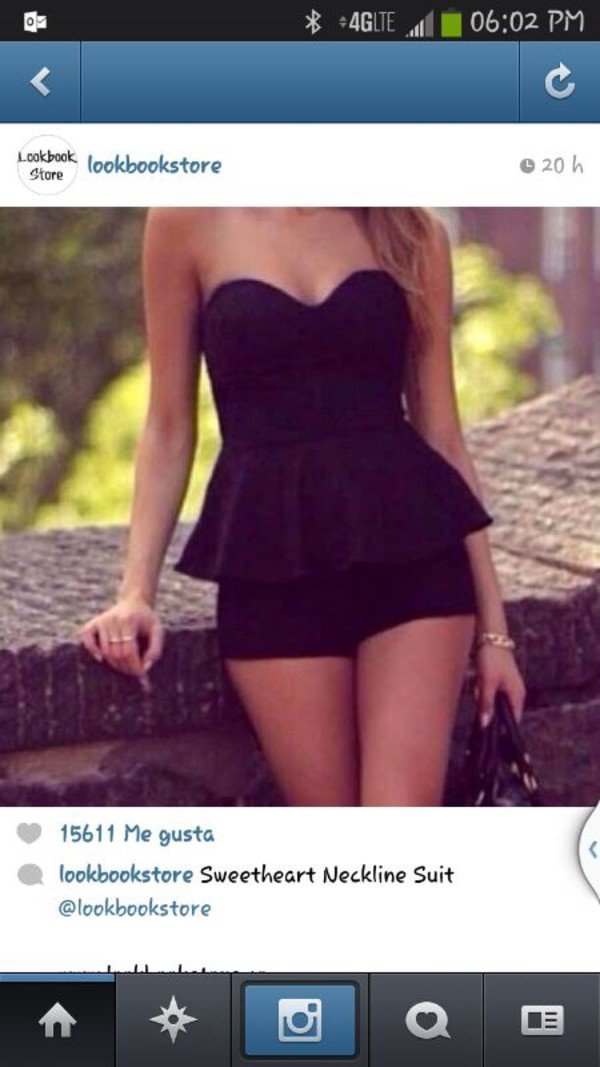 romper black peplum cute