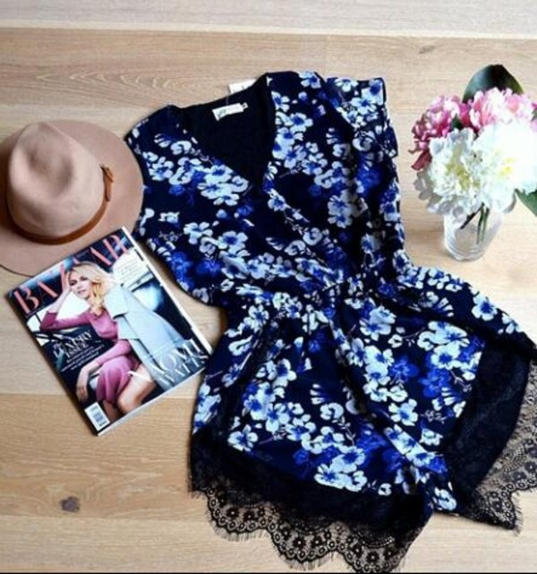 t-shirt romper black and blue blue romper blue shorts black playsuit blue playsuit romper black jumpsuit blue jumpsuit jumpsuit hat summer hat lace lace jumper black lace