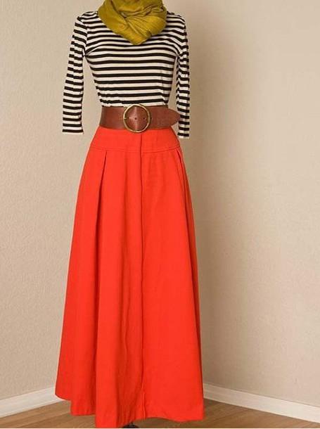 skirt orange maxi skirt stripe top