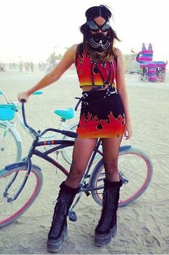 skirt top two-piece burning man boots shoes katy perry