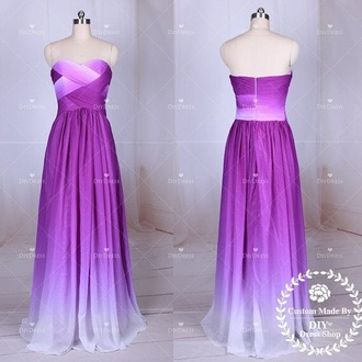 dress ball purple sweetheart neckline sleeveless pretty gown long dress ombré urgent chiffon a line formal