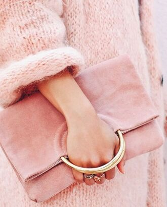 bag pink bag pouch suede bag suede oversized sweater pink sweater knitted sweater knitwear all pink wishlist all pink everything
