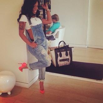 shoes pumps celine bag overalls k michelle pants blue jeans grundge cool smart