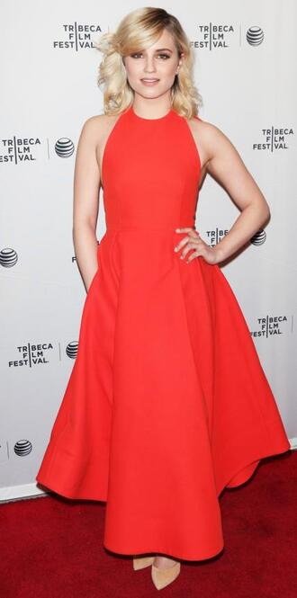 dress gown red dress maxi dress dianna agron prom dress