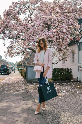 vogue haus blogger jacket jeans top bag sunglasses chanel blazer spring outfits high heel pumps